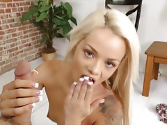 Blonde, Facial, Handjob, Small Tits