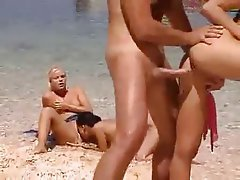 Babe, Beach, French, Group Sex