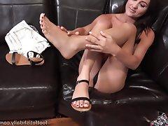 Blowjob, Brunette, Cumshot, Foot Fetish, Small Tits